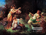 Fairy Play by Hans Zatzka - Stretched Canvas Art Print