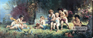 Cherubs At Play by H. Zabateri - Stretched Canvas Art Print