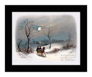 Sleighing by Moonlight - Framed Art Print