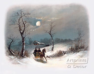 Sleighing by Moonlight by William Henry Chandler - Art Print