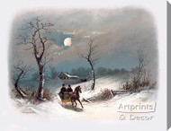Sleighing by Moonlight by William Henry Chandler - Stretched Canvas Art Print
