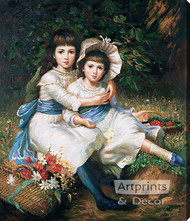 Cecile and Adela, Children of George Drummond - Oil Painting Reproduction - Stretched Canvas Art Print
