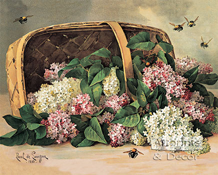 A Basket of Lilacs by Paul de Longpre - Art Print
