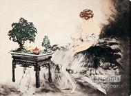 Le Jardin Japonais by Louis Icart - Stretched Canvas Art Print