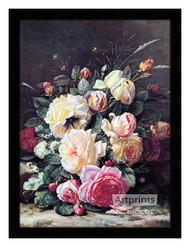 A Still Life with Roses - Framed Art Print