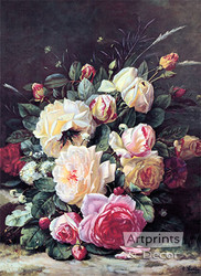 A Still Life with Roses by Jean Baptiste Robie - Art Print