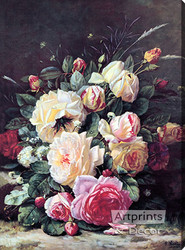 A Still Life with Roses by Jean Baptiste Robie - Stretched Canvas Art Print