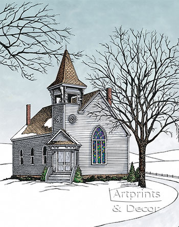 The Old Country Church, Framed Art Print by Terry Lombard at ...