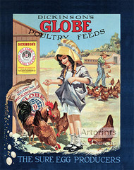 Dickinson's Globe Poultry Feeds - Vintage Ad Art Print