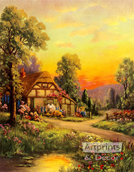 Cottage at Sunset by William M. Thompson - Art Print