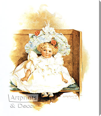 First Day at Worship by Maud Humphrey - Stretched Canvas Art Print
