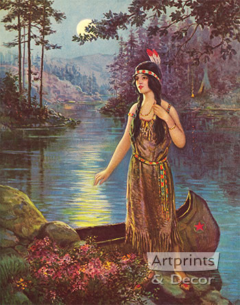 Indian Maiden by Frank Robert Harper - Art Print