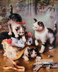 Mischievous Kittens by C. Reichert - Art Print