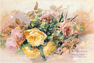 Pink & Yellow Roses by Franz Bischoff - Art Print