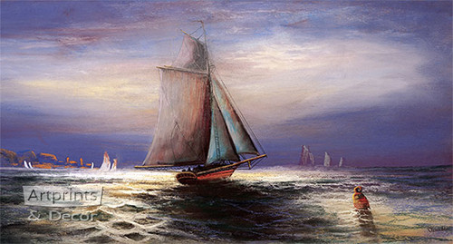 Moonlight Sail by William Henry Chandler - Art Print