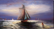 Moonlight Sail by William Henry Chandler - Stretched Canvas Art Print