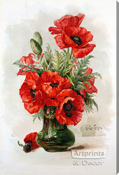 Red Poppies by Paul de Longpre - Stretched Canvas Art Print
