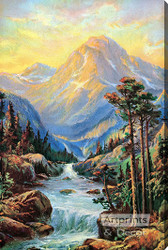 Golden Mountains - Stretched Canvas Art Print