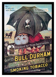 Bull Durham Smoking Tobacco - Vintage Ad - Framed Art Print