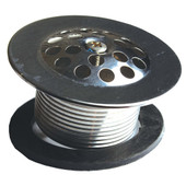 """Waste and Overflow Stainless Steel Shoe Plug Strainer W/ 1-5/8"""" x 16"""" Thread"""