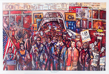 Artwork inludes Birmingham Campaign, Selma March, and Sanitation Strike, and Lorraine Motel. Signed by artist Kevin Baldwin.
