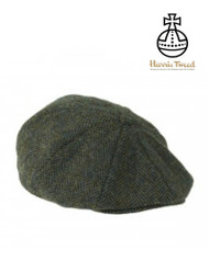 Harris Tweed Baker Boy Cap - Dark Green Herringbone