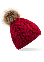 Fur Pom Pom Cable Hat