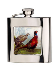 Stainless Steel Hip Flask with Pheasant