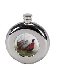 4.5oz Round Hip Flask with Pheasant Motif