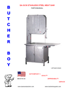 Butcher Boy SA30 & SA36 - Meat Bandsaw Parts List (New Style)