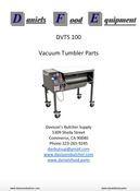 Daniels Food DVTS 100 Vacuum Tumbler / Marinator Parts - Parts List