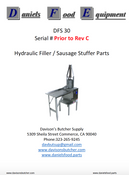 "Daniels Food DFS 30 Sausage Stuffer / Filler  Parts - Parts List - ""Prior to Rev C"""