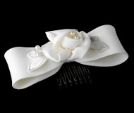 First Communion Floral Hair Bow | White Hairbow For Flower Girl