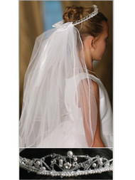 Veil With Tiara | First Communion Veil With Tiara