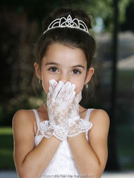 Wrist Length Lace Gloves For Girls | White Communion Lace Gloves