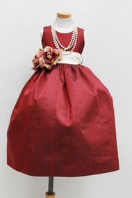 Couture Girls Red Silk Dress | Toddler Red Silk Dress | Girls Dress