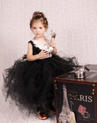 Black Tutu Flower Girl Dress | Girls Ivory Tutu Dress | Toddler Tutu