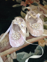 Beautiful Victorian Lace Christening Shoes | Girls Baptism Lace Shoes