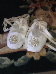 Silk Victorian Christening Shoes | Silk Baptism Shoes For Girls