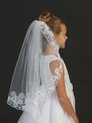 Girls Lace Edge Communion Veil   White Communion Veil With Lace