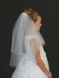 Double Layered Tulle White Communion Veil For Girls | Communion Veil
