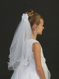Girls White Communion Veil With Floral Pin | Communion Veil