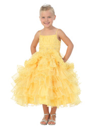 Girls Tea Length Pageant Dress | Yellow Pageant Dress For Girls