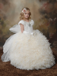 Princess Couture Fur Ball Gown | Girls Beautiful Feather Gown