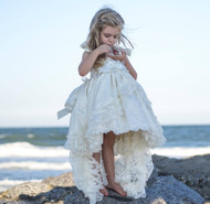 Flower Girl Couture Hi Lo Lace Gown | Girls Vintage Lace Gown