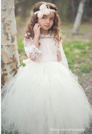 Couture Girls Tutu Flower Girl Dress | Little Girls Birthday Tutu Dress