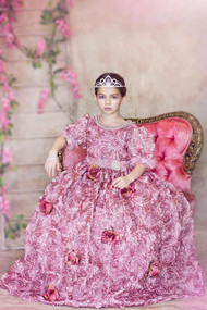 Girls Pink Satin Ball Gown | Couture Princess Girls Wedding Ball Gown