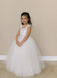 Girls Beaded Tulle Dress | Amalee Ivory Flower Girl Communion Dress