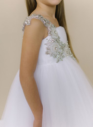 Amalee Couture Flower Girl Communion Tulle Dress In White Or Ivory