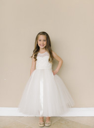 Girls White Communion Dress | Amalee Couture Lace Tulle Dress